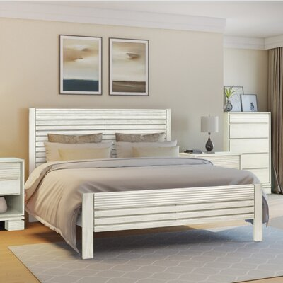 Vienna Platform Bed Color: Off White, Size: King