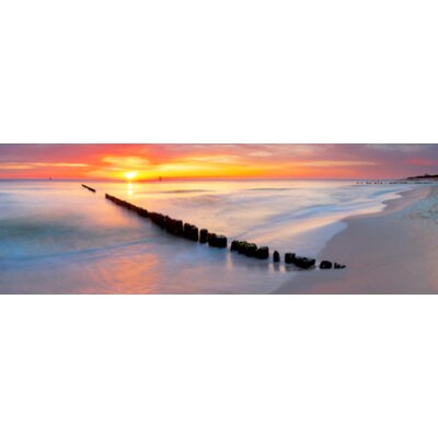 "Jetty In The Sunset Photographic Print On Wrapped Canvas Size: 24"" H X 72"" W X 1"" D"