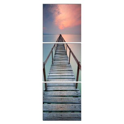 "Jetty In The Distance 3 Piece Photographic Print On Canvas Set Size: 28"" H X 84"" W X 1"" D"