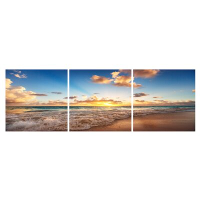 'Sandy Tide at Sunset' Photographic Print Multi-Piece Image on Wrapped Canvas