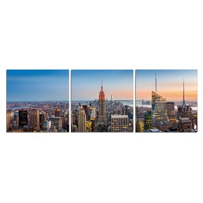 'NYC Skyline Day' Photographic Print Multi-Piece Image on Wrapped Canvas Size: 20