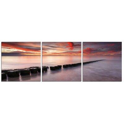 'Rocks, Sunset, Ocean' Photographic Print Multi-Piece Image on Canvas Size: 20