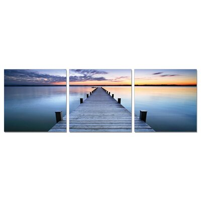 'Sunrise Blue Pier' Photographic Print Multi-Piece Image on Wrapped Canvas Size: 20