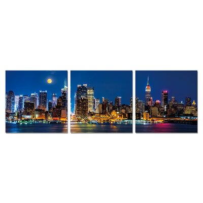 'Moon NYC Sky' Photographic Print Multi-Piece Image on Wrapped Canvas Size: 20