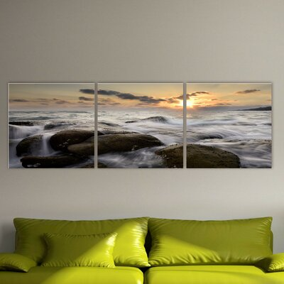 'Tide on the Rocks' Photographic Print Multi-Piece Image on Canvas Size: 20