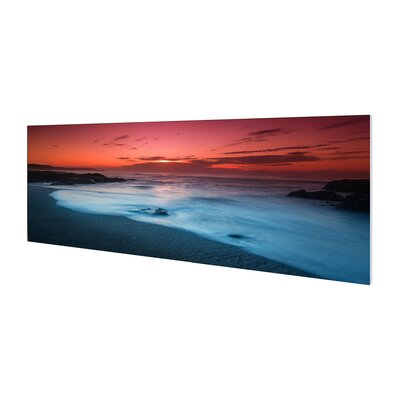 'Red Sunset' Framed Graphic Art Print on Wrapped Canvas