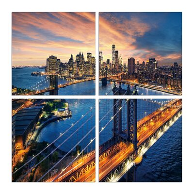 'Above the Brooklyn Bridge' Photographic Print Multi-Piece Image on Canvas Size: 20