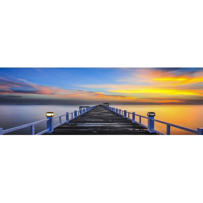 'Pier at Sunset' Framed Photographic Print on Wrapped Canvas
