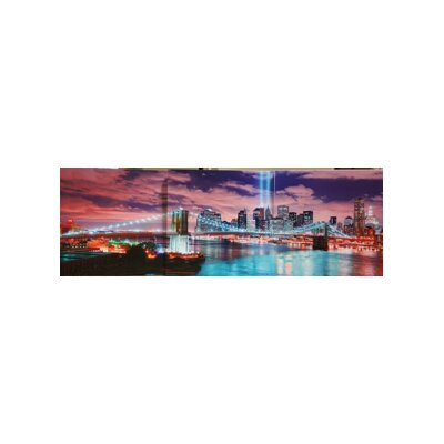 'NYC Evening Skyline' Framed Photographic Print on Wrapped Canvas Size: 20