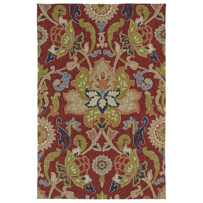 """Home and Porch Red Floral and Plants Indoor/Outdoor Area Rug Rug Size: 7'6"""" x 9'"""