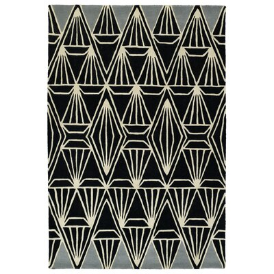Origami Hand-Tufted Black Area Rug Rug Size: 2 x 3