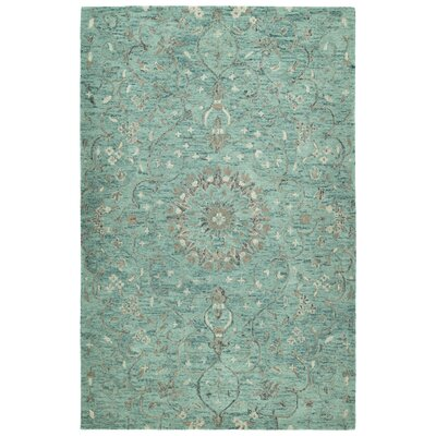 Toshiro Traditional Hand Tufted Wool Turquoise Area Rug Rug Size: Rectangle 9 x 12