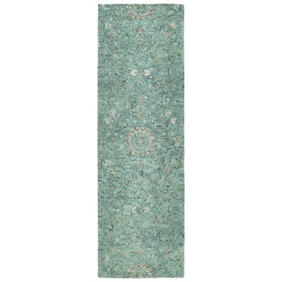 Toshiro Traditional Hand Tufted Wool Turquoise Area Rug Rug Size: Runner 26 x 8