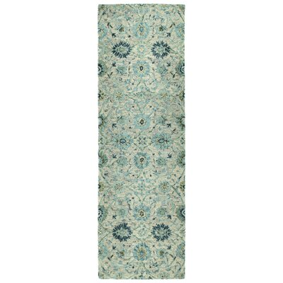 Toshiro Hand Tufted Wool Turquoise Area Rug Rug Size: Runner 26 x 8