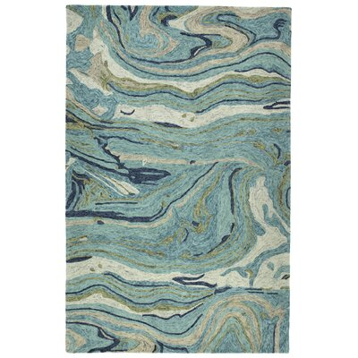 Katarina Hand Tufted Wool Teal Area Rug Rug Size: Rectangle 96 x 13