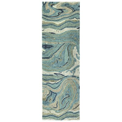 Bargas Hand Tufted Wool Teal Area Rug Rug Size: Runner 26 x 8