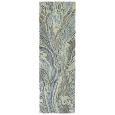 Bargas Hand Tufted Wool Pewter Green Area Rug Rug Size: Runner 26 x 8