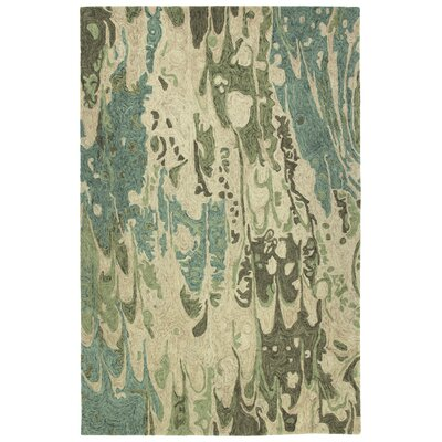 Katarina Hand Tufted Wool Sea Foam/Beige Area Rug Rug Size: Rectangle 36 x 56