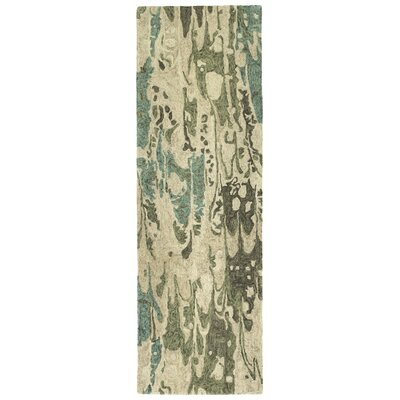 Katarina Hand Tufted Wool Sea Foam/Beige Area Rug Rug Size: Runner 26 x 8