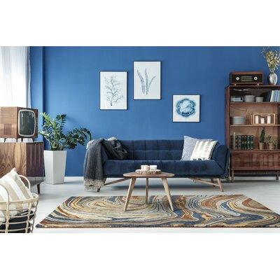 Katarina Hand Tufted Wool Blue/Brown Area Rug Rug Size: Rectangle 5 x 79