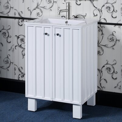 IN 31 Series Single Sink Bathroom Vanity Set Base Finish: White
