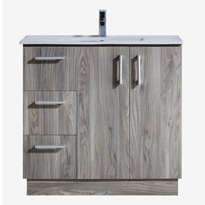 35 Bathroom Vanity with Ceramic Sink in Grey Walnut Wood Texture Finish Base Finish: Gray Walnut