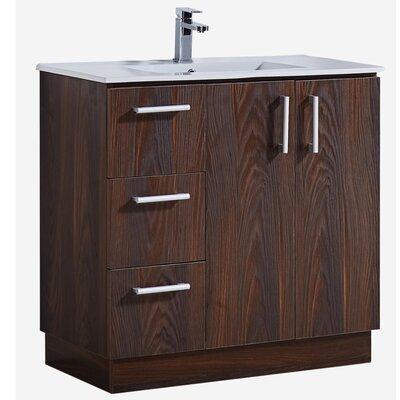 35 Bathroom Vanity with Ceramic Sink in Brown Elm Wood Texture Finish