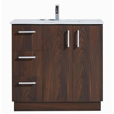35 Bathroom Vanity with Ceramic Sink in Grey Walnut Wood Texture Finish Base Finish: Brown Elm