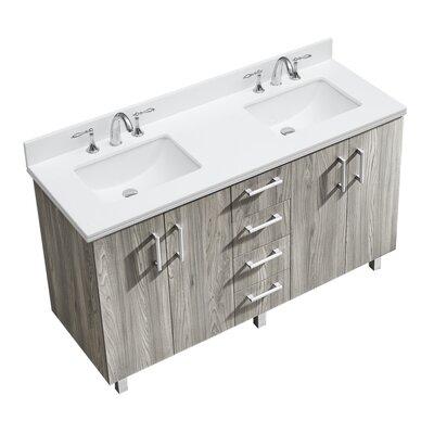 IN Series 60 Double Bathroom Vanity Set Top Finish: White