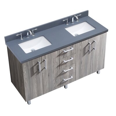 IN Series 60 Double Bathroom Vanity Set Top Finish: Gray