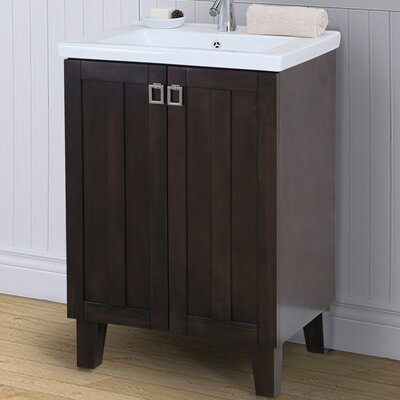 24 Single Bathroom Vanity Set Base Finish: Light Brown