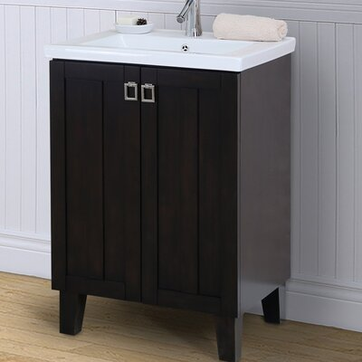 24 Single Bathroom Vanity Set Base Finish: Dark Brown