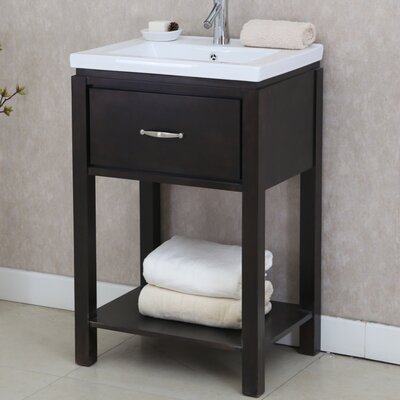24 Single Bathroom Vanity Set with Open Shelf Base Finish: Dark Brown