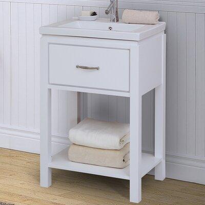 24 Single Bathroom Vanity Set with Open Shelf Base Finish: White