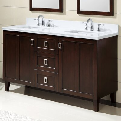 60 Double Sink Bathroom Vanity Set Base Finish: Brown, Top Finish: Snow White Quartz Marble