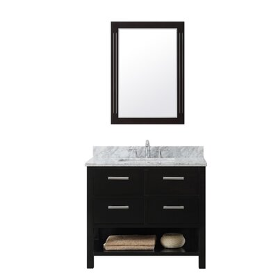 37 Single Bathroom Vanity Set Top Finish: Gray Quartz, Base Finish: White