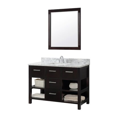 49.1 Single Bathroom Vanity Set Base Finish: Espresso, Top Finish: Phoenix White Quartz