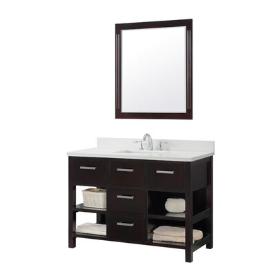 49.1 Single Bathroom Vanity Set Base Finish: Espresso, Top Finish: Carrara White