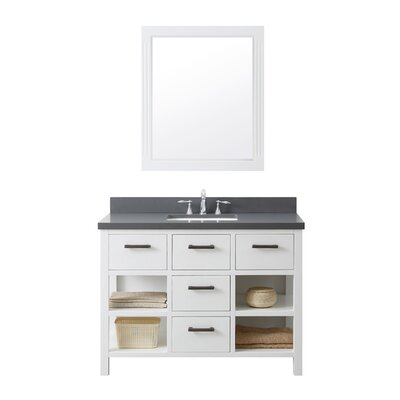49.1 Single Bathroom Vanity Set Base Finish: White, Top Finish: Gray Quartz
