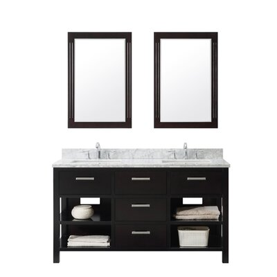 60.9 Double Bathroom Vanity Set Top Finish: Carrara White, Base Finish: White