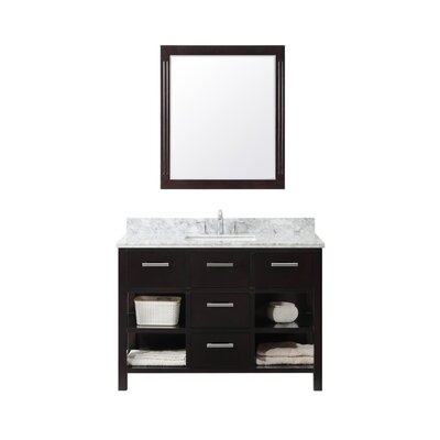 49.1 Single Bathroom Vanity Set Base Finish: White, Top Finish: Carrara White