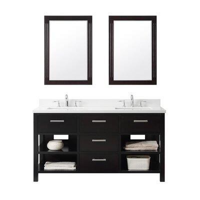 61 Double Bathroom Vanity Set Base Finish: Espresso, Top Finish: Carrara White