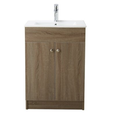 Usry 24 Single Bathroom Vanity Set Base Finish: Brown Oak