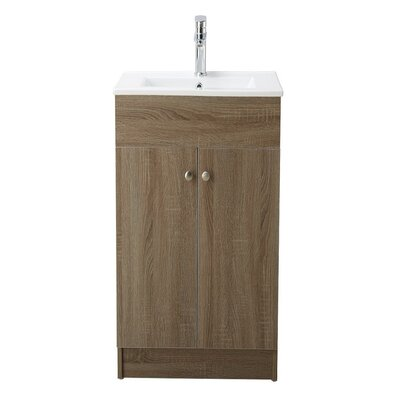 Chance 19 Single Bathroom Vanity Set Base Finish: Brown Oak