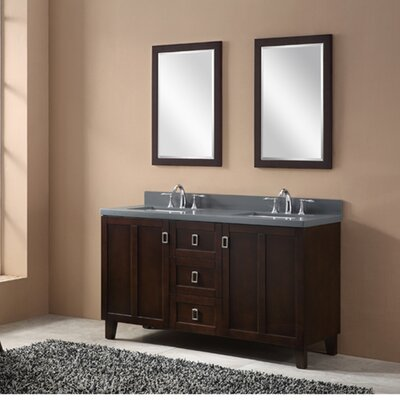 60 Double Sink Bathroom Vanity Set Base Finish: Dark Brown, Top Finish: Gray Quartz Marble