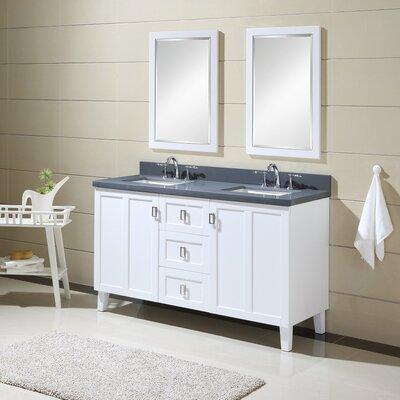 60 Double Sink Bathroom Vanity Set Base Finish: White, Top Finish: Gray Quartz Marble