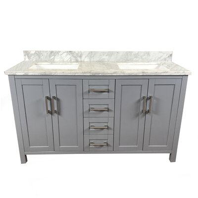 Hodgkins 60 Double Bathroom Vanity Top Finish: Carrara White