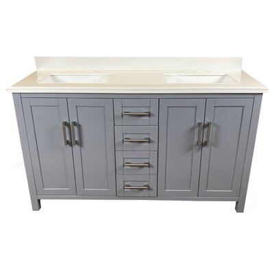 Hodgkins 60 Double Bathroom Vanity Top Finish: White