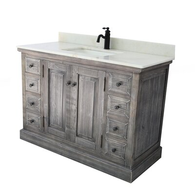 Carlton Rustic 1 Sink Bathroom Vanity Set Top Finish: Arctic Pearl