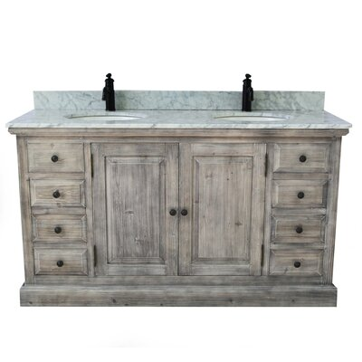 Carlton Rustic 2 Sink Bathroom Vanity Set Top Finish: Carrera White